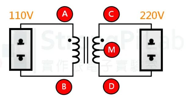 110V转220V变压器的电路构造